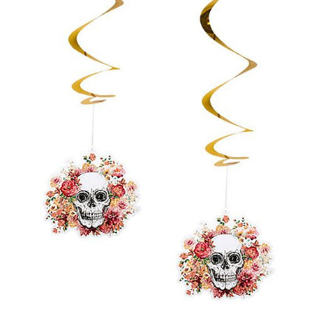 Floral Floral Day of the Dead Swirl Decorations - 85cm - Pack of 2
