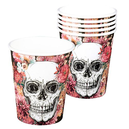 Floral Day of the Dead Cups - 250ml - Pack of 6
