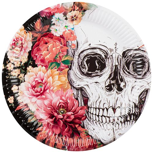 Floral Day of the Dead Plates - 23cm - Pack of 6