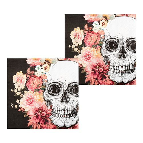 Floral Day of the Dead Napkins - 33cm - Pack of 12
