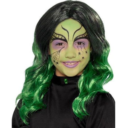 Kids Black And Green Witch Wig
