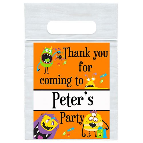 Personalised Silly Monsters Party Card Insert with Sealed Party Bag - Each