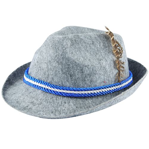 Oktoberfest Hat with Feather and Cord