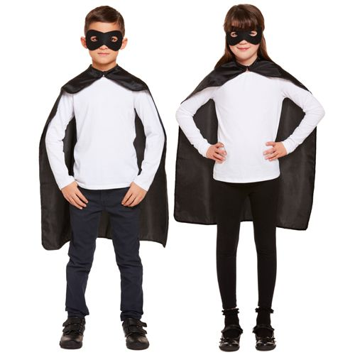 Children's Superhero Costume Kit - Black Mask & Cape - Unisex