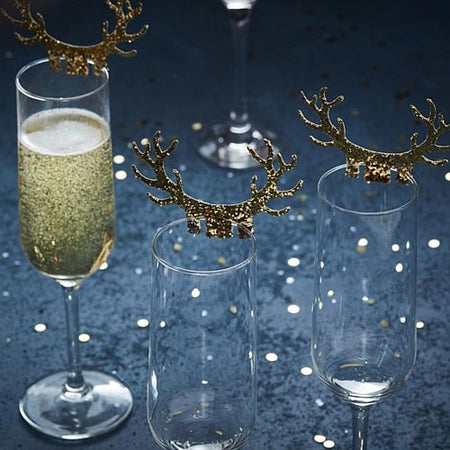 Gold Glitter Antler Glass Decorations - Pack of 10