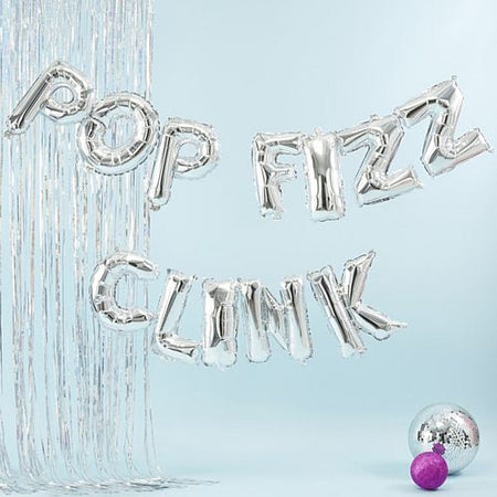 Silver Pop Fizz Clink Balloon Bunting