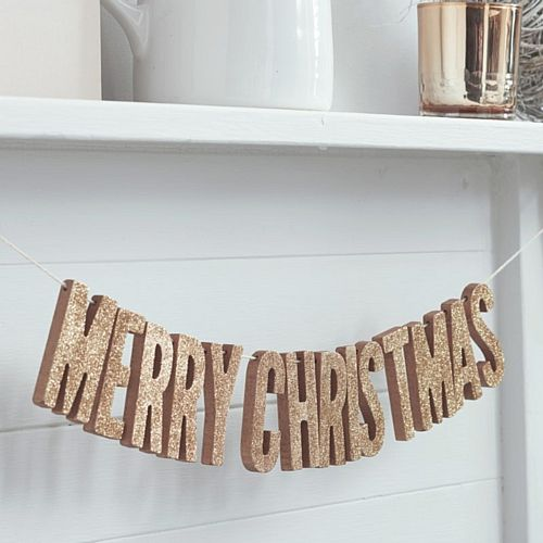Wooden Rose Gold Glitter Merry Christmas Bunting - 70cm
