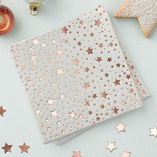 Rose Gold Foiled Star Design Cocktail Napkins - Pack of 20