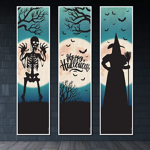 Halloween Portrait Wall Banner Decorations - 1.2m - Pack of 3