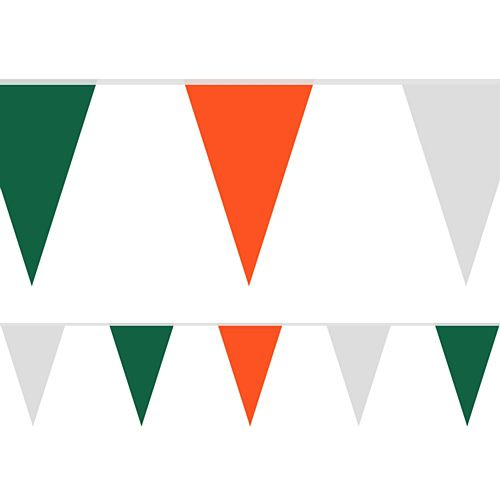Orange, White and Green Fabric Pennant Bunting - 24 Flags - 8m