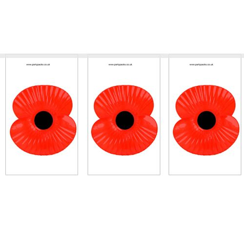 Poppy Flag Interior Bunting - 2.4m