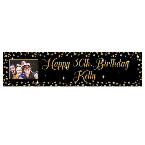 Gold Sparkle Personalised Photo Banner - 1.2m