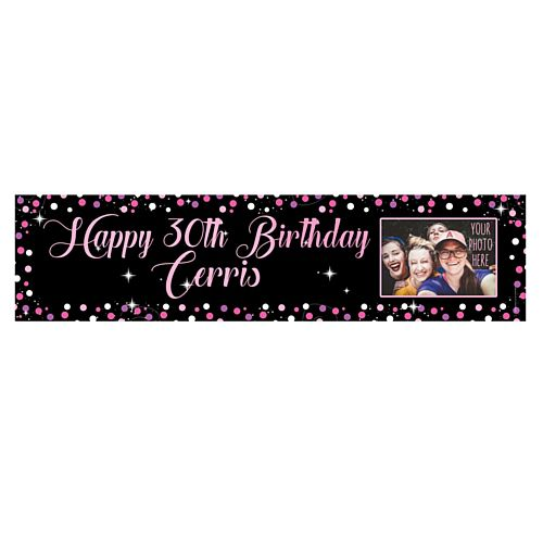 Pink Sparkle Personalsed Photo Banner - 1.2m