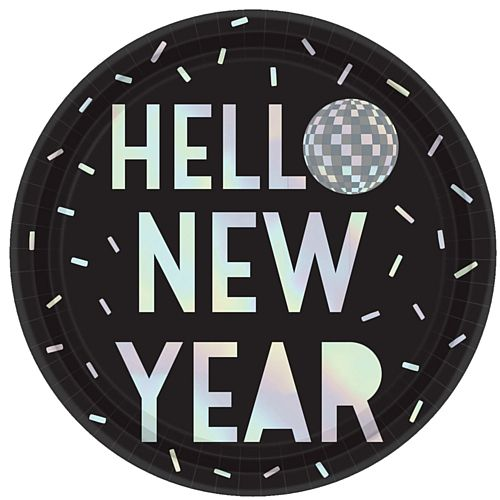 Disco Ball Drop New Year Paper Plates - 23cm - Pack of 8