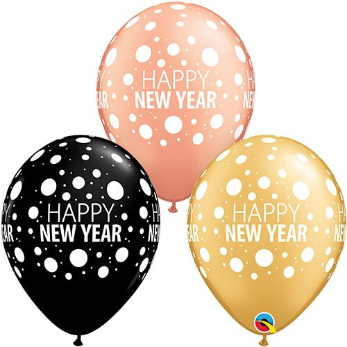 "New Year Black, Rose Gold and Gold Latex Balloons - 11"" - Pack of 10"