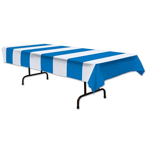 Blue and White Stripes Plastic Tablecover - 2.7m