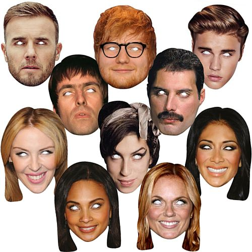 Music Celebrity Card Mask Pack - Pack of 10