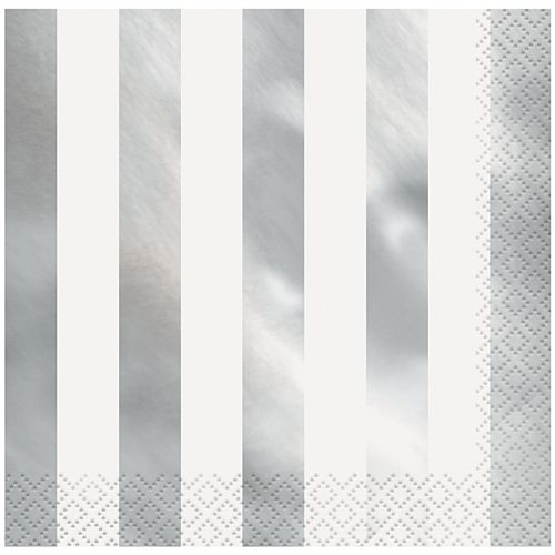 Silver Metallic Foil Stripes Paper Napkins - Pack of 16