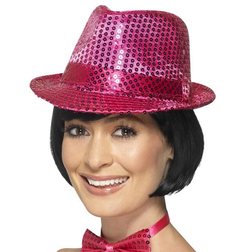 Pink Sequin Trilby Hat