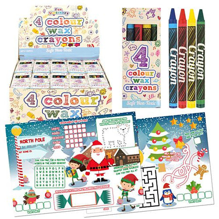 Christmas Activity Sheets and Wax Crayons - Pack of 120
