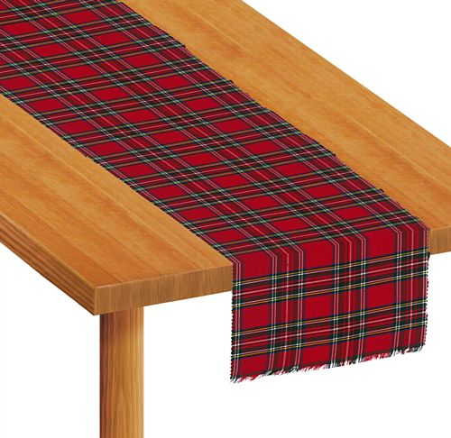 Red Tartan Fabric Table Runner - 1.5m