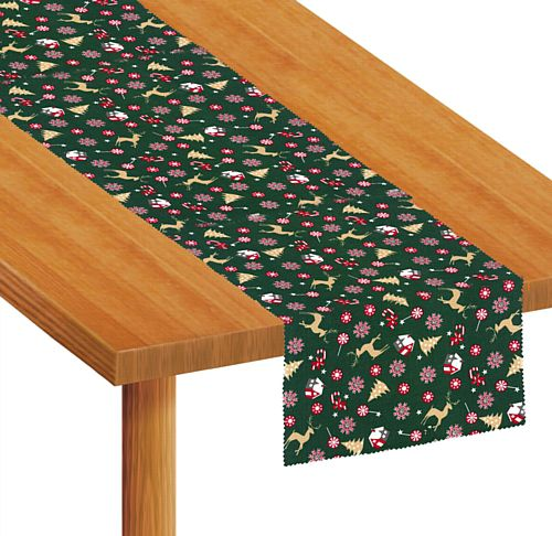 Christmas Reindeer and Trees Fabric Table Runner - Each