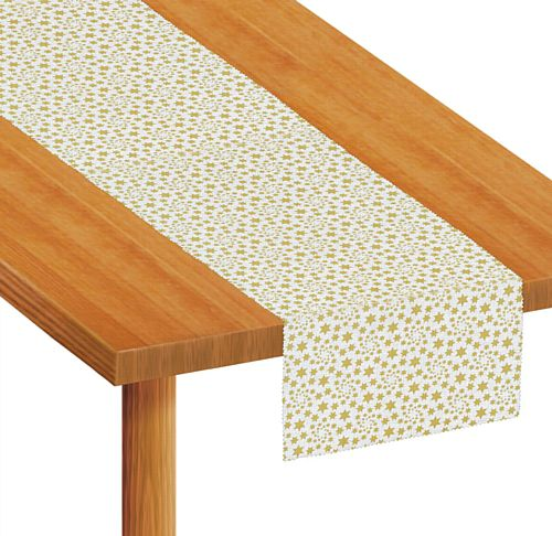 Christmas Gold Stars Fabric Table Runner - Each