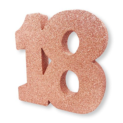 Rose Gold Glitter Number 18 Table Decoration - 20cm