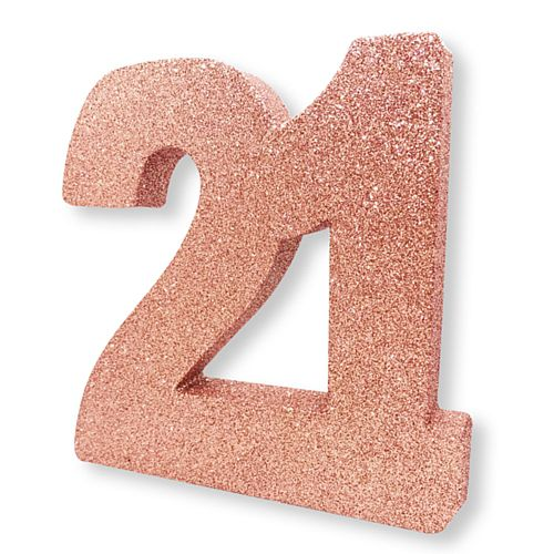 Rose Gold Glitter Number 21 Table Decoration - 20cm