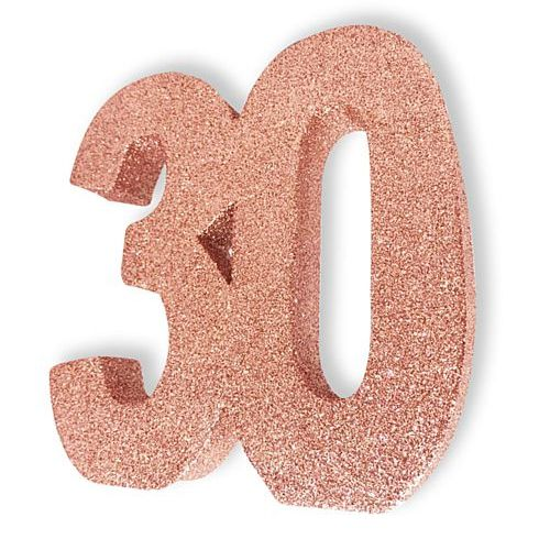 Rose Gold Glitter Number 30 Table Decoration - 20cm