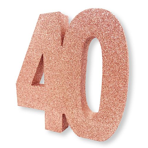 Rose Gold Glitter Number 40 Table Decoration - 20cm