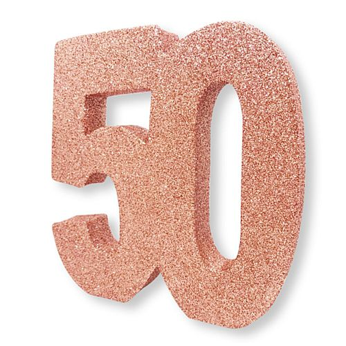 Rose Gold Glitter Number 50 Table Decoration - 20cm