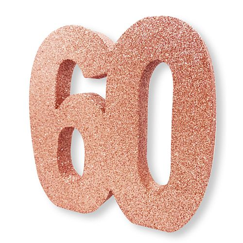 Rose Gold Glitter Number 60 Table Decoration - 20cm