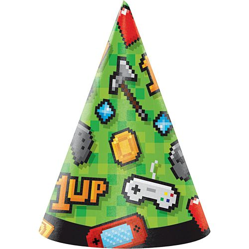 Gaming Party Cone Hats - Pack of 8
