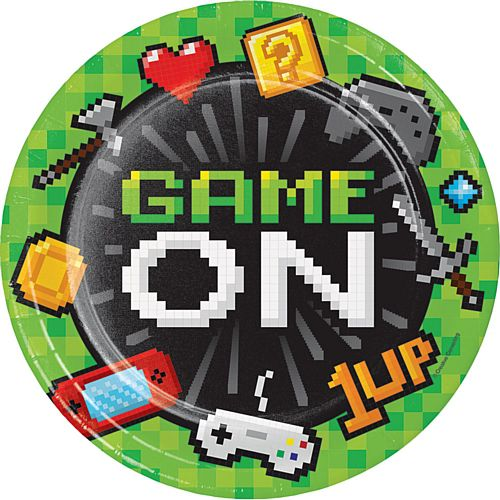 Gaming Party Dinner Plates - 23cm - Pack of 8
