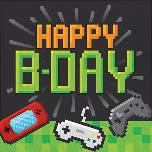 Gaming Party Happy Birthday Napkins - Pack of 16