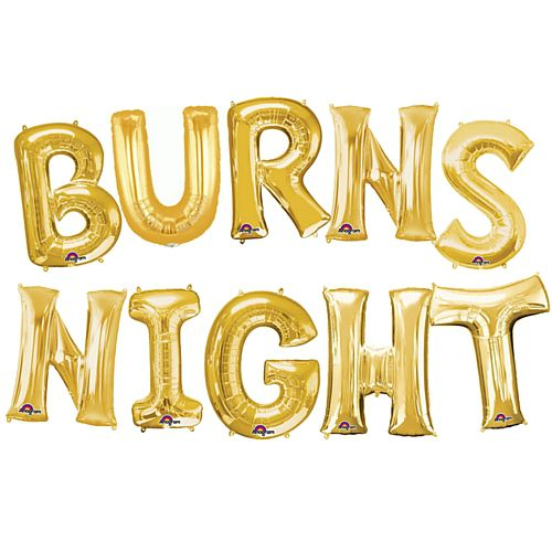 Burns Night Gold Foil Letter Balloon Pack - 40cm