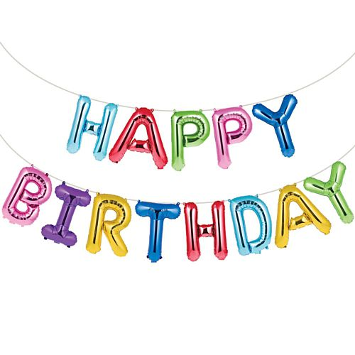 Rainbow Happy Birthday Balloon Banner - 4.3m - Pack of 13