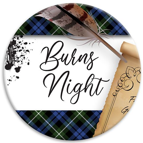 Burns Night Scroll Badge - 58mm - Each