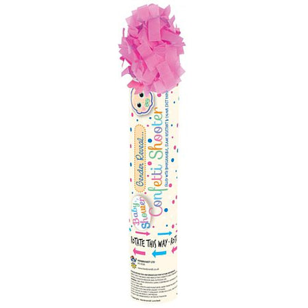 It's A Girl Gender Reveal Pink Paper Confetti Cannon - 20cm - Each