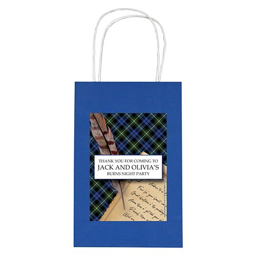 Personalised Burns Night Scroll Paper Party Bags - Pack of 4