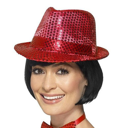 Click to view product details and reviews for Red Sequin Trilby Hat.