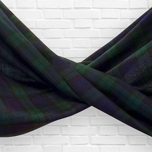 Black Watch Blue Tartan Fabric Drapes - 1.1m Wide - Per Metre