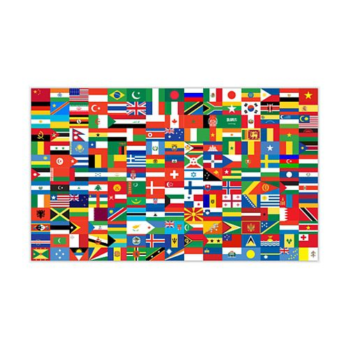 International Countries of the World Polyester Fabric Flag - 5ft x 3ft