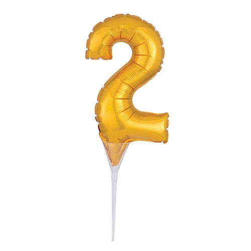 Gold Micro Number 2 Foil Balloon - 15cm