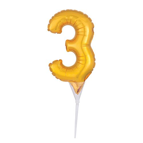 Gold Micro Number 3 Foil Balloon - 15cm