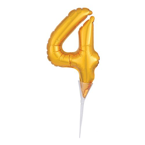 Gold Micro Number 4 Foil Balloon - 15cm