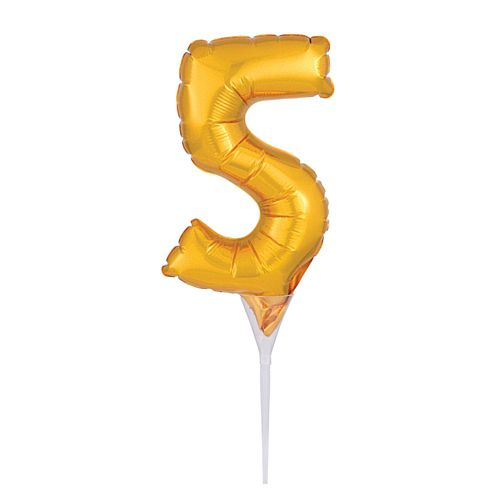 Gold Micro Number 5 Foil Balloon - 15cm