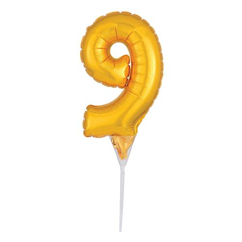 Gold Micro Number 9 Foil Balloon - 15cm
