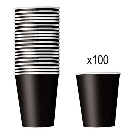 Black Paper Cups - 266ml - Pack of 100